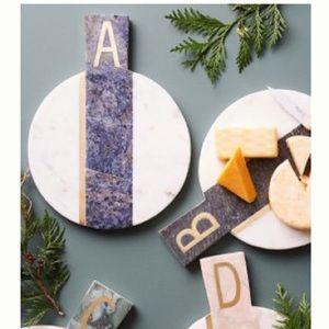 "Anthropologie ""E"" Monogram Marble Cheeseboard"